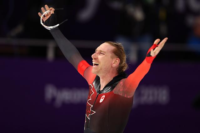 <p>Ted-Jan Bloemen of Canada celebrates after winning the Speed Skating Men's 10,000m. Jorrit Bergsma of the Netherlands won the silver and Nicola Tumolero of Italy won the bronze. (Getty) </p>