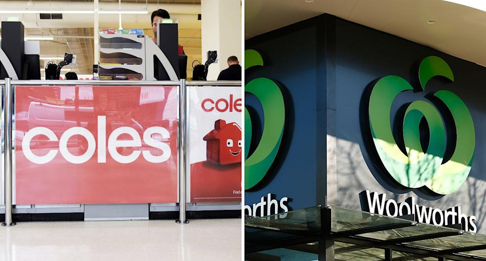 Logos for Coles and Woolworths are pictured.