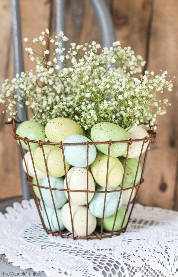 """<p>An egg-filled basket topped with a plume of baby's breath is the perfect addition to your tabletop.</p><p><em><a href=""""https://www.purelykatie.com/easter-floral-arrangement/"""" rel=""""nofollow noopener"""" target=""""_blank"""" data-ylk=""""slk:Get the tutorial from Purely Katie »"""" class=""""link rapid-noclick-resp"""">Get the tutorial from Purely Katie »</a></em></p>"""