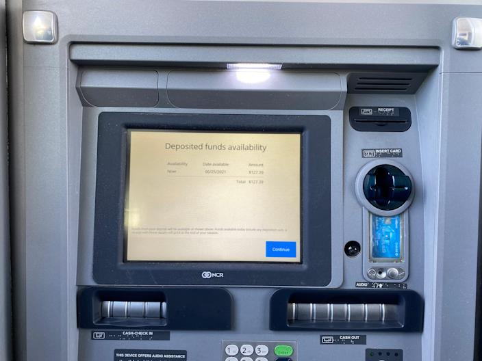 Depositing a check at a Chase ATM