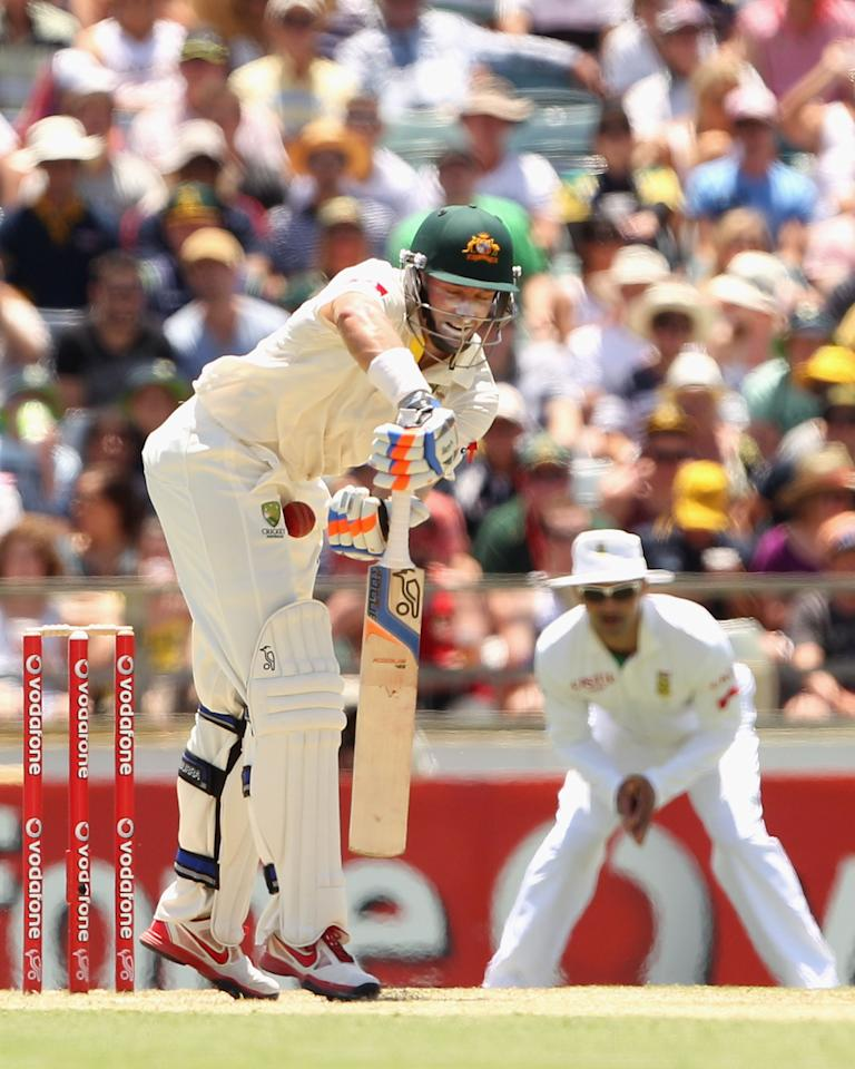 PERTH, AUSTRALIA - DECEMBER 01:  Michael Hussey of Australia is hit by the ball during day two of the Third Test Match between Australia and South Africa at the WACA on December 1, 2012 in Perth, Australia.  (Photo by Robert Prezioso/Getty Images)