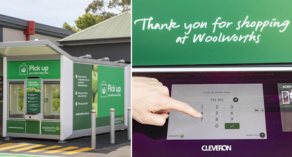 A customer entres his unique access code to collect his grocery order from the Woolworths click and collect lockers.