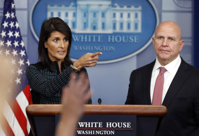 Ambassador to the United Nations Nikki Haley and national security adviser H.R. McMaster participate in a news briefing at the White House on Friday. (Photo: Carolyn Kaster/AP)
