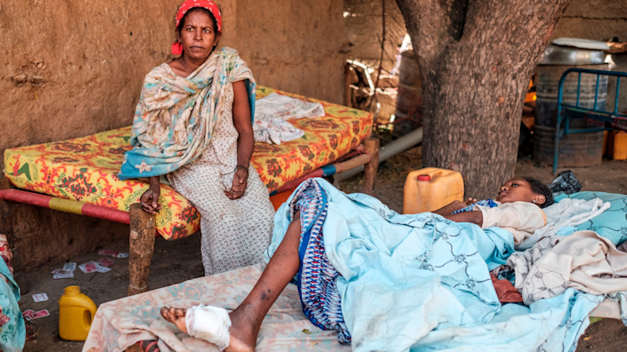 A mother looking after her daughter who was wounded in shelling on Humera, Ethiopia - 22 November 2020