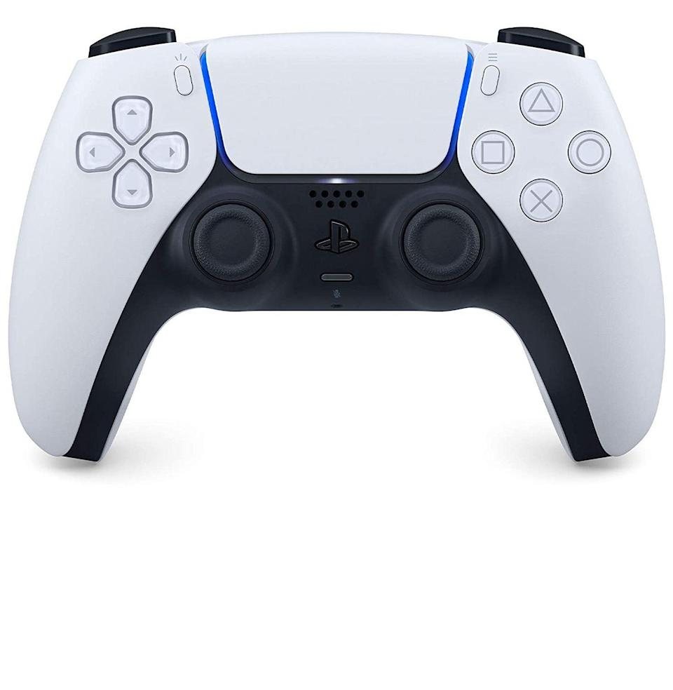 """<p><strong>PlayStation</strong></p><p>amazon.com</p><p><strong>$68.00</strong></p><p><a href=""""https://www.amazon.com/dp/B08FC6C75Y?tag=syn-yahoo-20&ascsubtag=%5Bartid%7C10054.g.14381053%5Bsrc%7Cyahoo-us"""" rel=""""nofollow noopener"""" target=""""_blank"""" data-ylk=""""slk:Buy"""" class=""""link rapid-noclick-resp"""">Buy</a></p><p>Similarly, the PlayStation revamped its look for the PS5 and released a companion controller, featuring haptic feedback and adaptive triggers, with the new console. All PlayStation gamers are chasing that stark white vibe.</p>"""