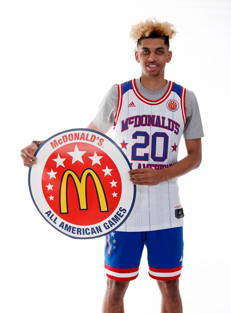 """Brian """"Tugs"""" Bowen II poses for a photo during the 2017 McDonald's All American Game portrait day."""