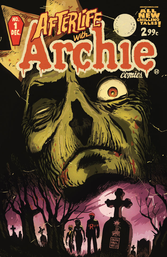 "This image released by Archie Comics shows ""Afterlife With Archie,"" a series debuting Wednesday, Oct. 9. The series written by Roberto Aguirre-Sacasa and illustrated by Francesco Francavilla sees Archie, Betty, Jughead, Veronica and others, including Sabrina the Teenage Witch, enveloped in apanoply of incantations, elder gods, the undead and zombies, too. (AP Photo/Archie Comics)"