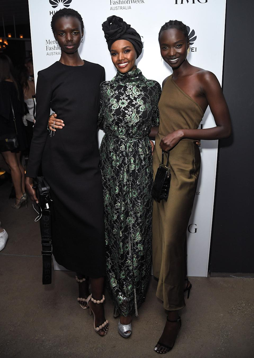 SYDNEY, AUSTRALIA - MAY 16: Halima Aden (centre) attends the Mercedes-Benz Fashion Week Australia official closing party on May 16, 2019 in Sydney, Australia. (Photo by James Gourley/Getty Images)