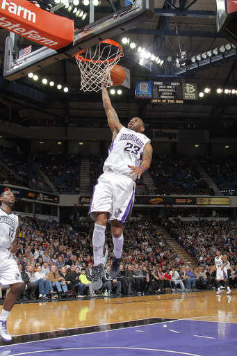 SACRAMENTO, CA - FEBRUARY 28: Marcus Thornton #23 of the Sacramento Kings takes the ball to the basket against the Utah Jazz on February 28, 2012 at Power Balance Pavilion in Sacramento, California. (Photo by Rocky Widner/NBAE via Getty Images)