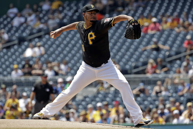 Pittsburgh Pirates starting pitcher Ivan Nova delivers in the first inning of a baseball game against the Milwaukee Brewers in Pittsburgh, Saturday, July 14, 2018. (AP Photo/Gene J. Puskar)