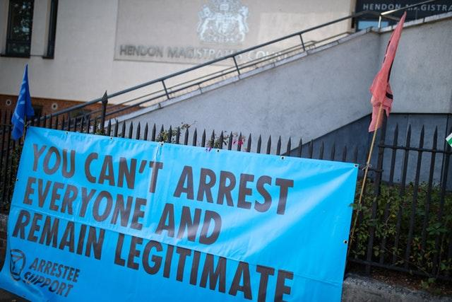 Climate change protesters at court