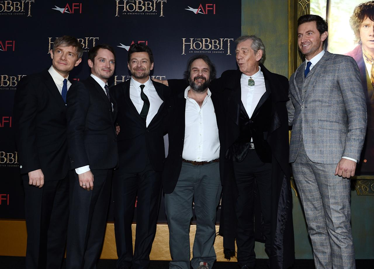 "NEW YORK, NY - DECEMBER 06:  (L-R) Martin Freeman, Elijah Wood, Andy Serkis, Sir Peter Jackson, Sir Ian McKellen, and Richard Armitage attend ""The Hobbit: An Unexpected Journey"" New York premiere benefiting AFI at Ziegfeld Theater on December 6, 2012 in New York City.  (Photo by Andrew H. Walker/Getty Images)"