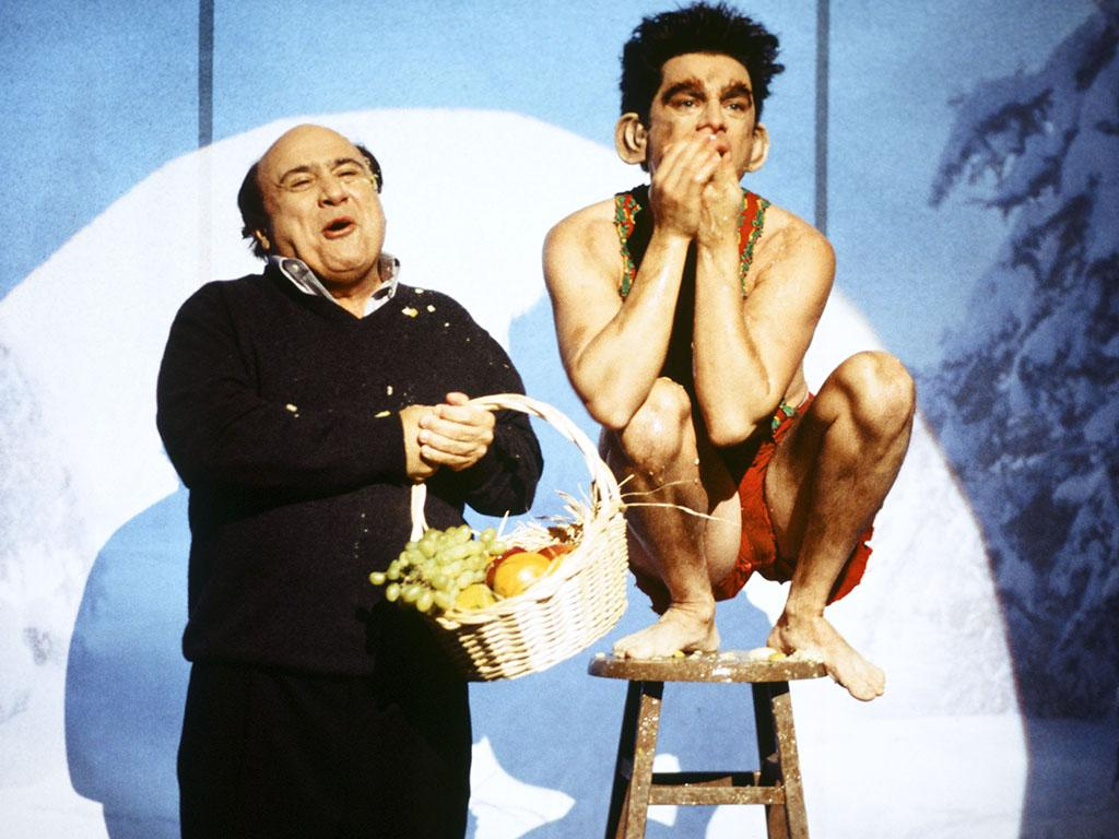 SATURDAY NIGHT LIVE -- Episode 8 -- Pictured: (l-r) Danny DeVito, Chris Kattan as Mr. Peepers during the monolgue on December 11, 1999 -- Photo by: Mary Ellen Matthews/NBC/NBCU Photo Bank