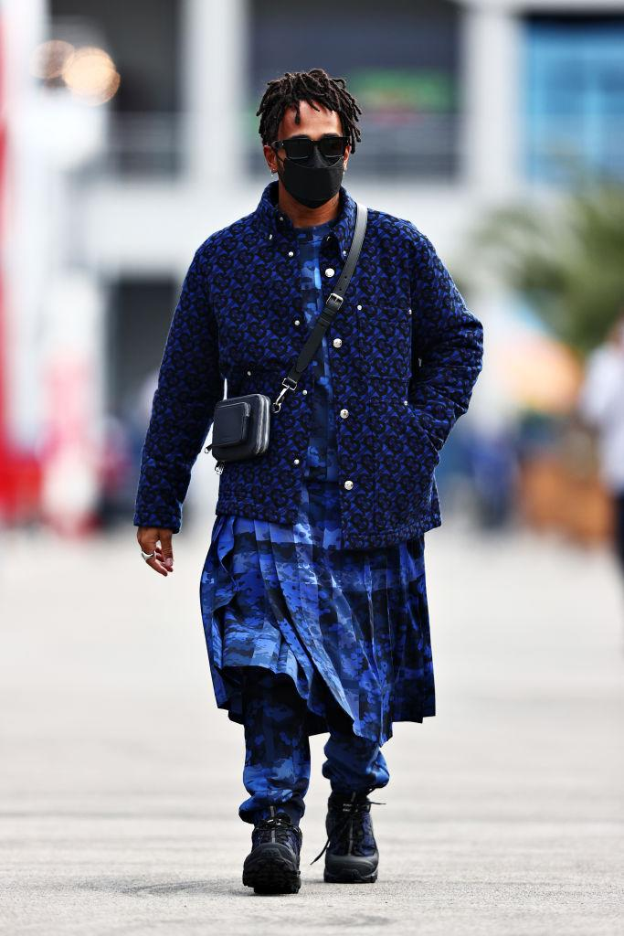 ISTANBUL, TURKEY - OCTOBER 07: Lewis Hamilton of Great Britain and Mercedes GP walks in the Paddock during previews ahead of the F1 Grand Prix of Turkey at Intercity Istanbul Park on October 07, 2021 in Istanbul, Turkey. (Photo by Mark Thompson/Getty Images)