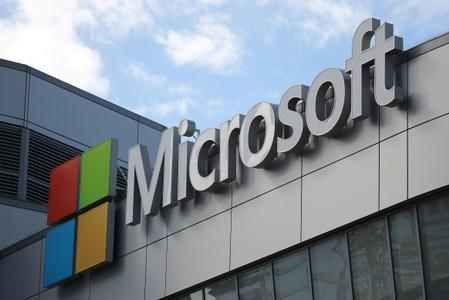 FILE PHOTO: A Microsoft logo is seen in Los Angeles