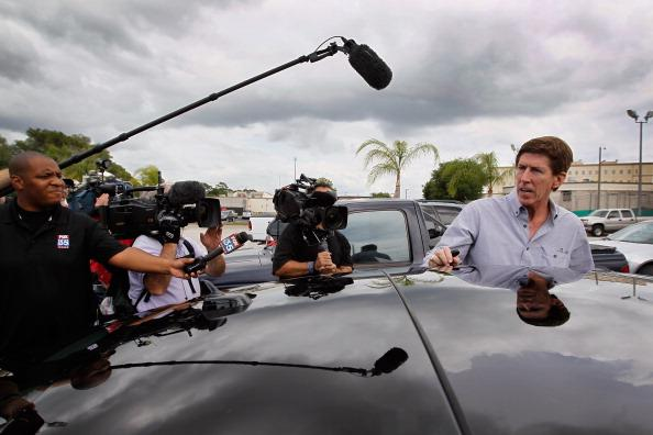 The defense attorney for George Zimmerman, Mark O'Mara, speaks to the media after leaving the John E. Polk Correctional Facility where he met with his client as he waits to be released on bond on April 21, 2012 in Sanford, Florida. Zimmerman turned himself in to police in connection with the killing of Trayvon Martin on February 26th while Zimmerman was on neighborhood watch patrol in the gated community of The Retreat at Twin Lakes, Florida. (Photo by Joe Raedle/Getty Images)