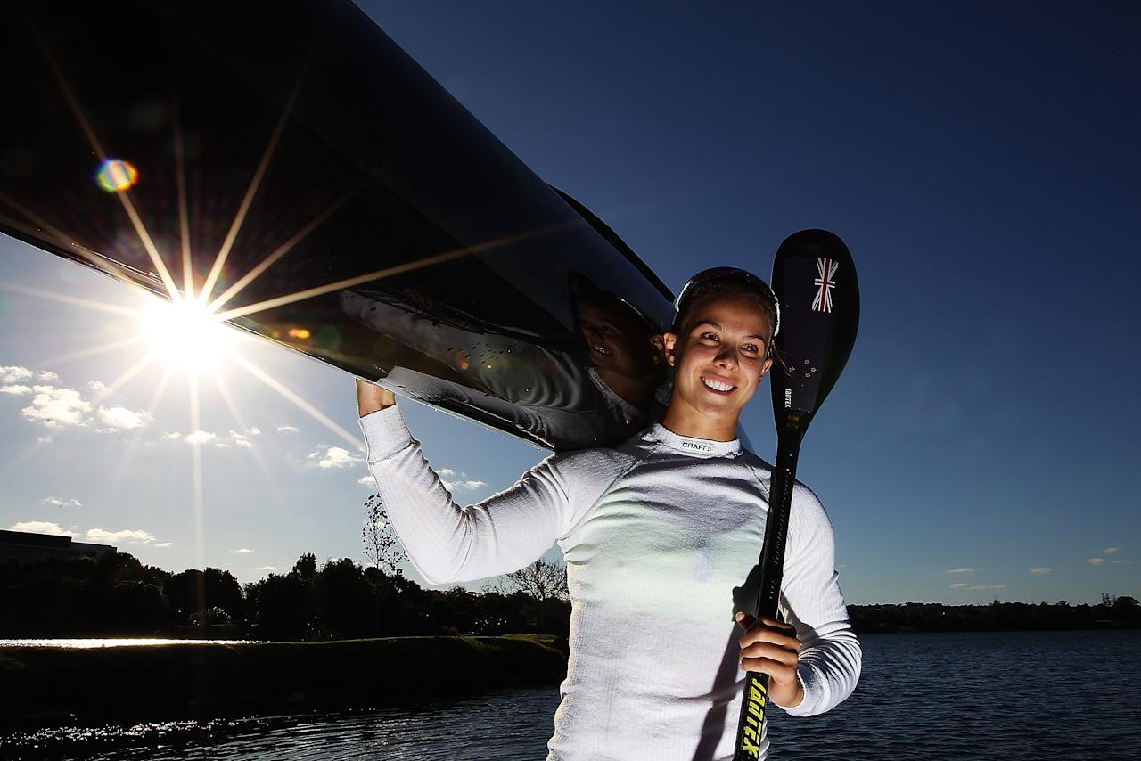 AUCKLAND, NEW ZEALAND - MAY 03: Lisa Carrington poses for a portrait after being named in the 2012 New Zealand Olympic Games Canoe Sprint team at North Shore Canoe Club on May 3, 2012 in Auckland, New Zealand. (Photo by Hannah Johnston/Getty Images)