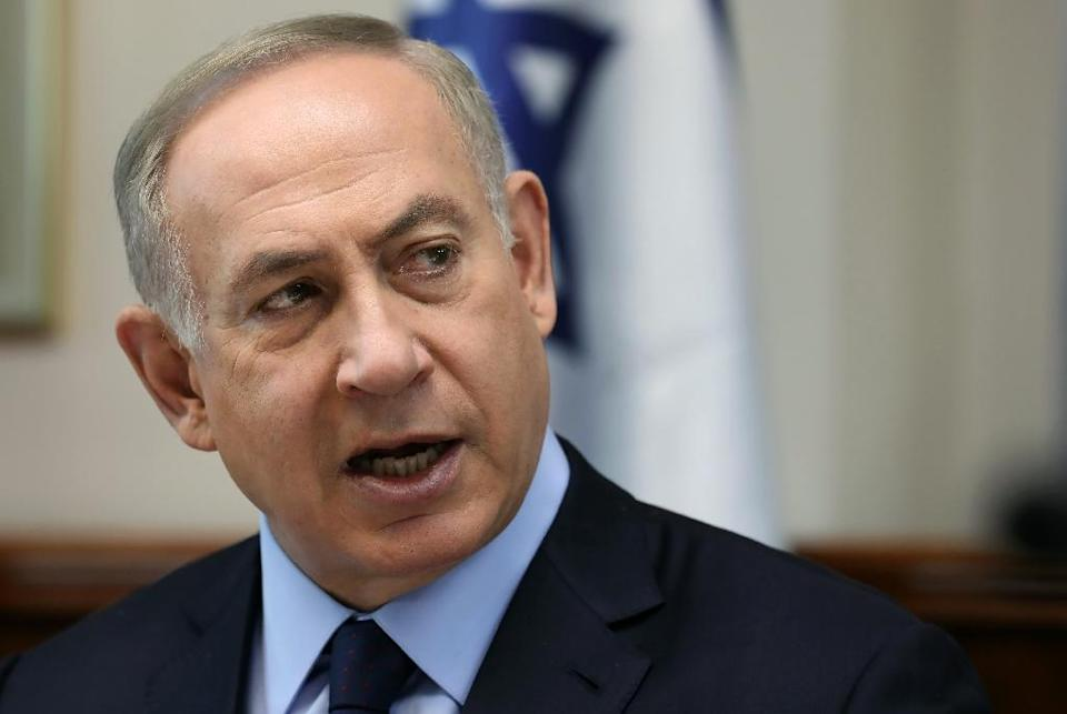 """Israeli Prime Minister Benjamin Netanyahu said this weekend's Paris peace talks as """"a fraud, a Palestinian fraud supported by France, the aim of which is to adopt additional anti-Israeli positions"""" (AFP Photo/Gali TIBBON)"""