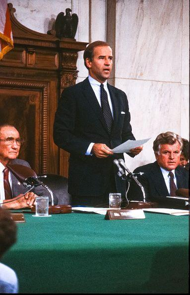 <p>Biden, then Chairman of the Senate Judiciary Committee, delivers the oath of office during a confirmation hearing for Judge Robert Bork as an Associate Justice of the Supreme Court in Washington D.C. on September 15, 1987. </p>
