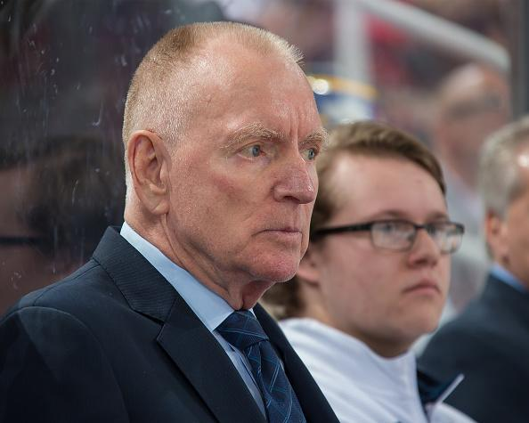 """Head coach Red Berenson of the <a class=""""link rapid-noclick-resp"""" href=""""/ncaab/teams/max/"""" data-ylk=""""slk:Michigan Wolverines"""">Michigan Wolverines</a> watches the action from the bench against the <a class=""""link rapid-noclick-resp"""" href=""""/ncaab/teams/northern_michigan/"""" data-ylk=""""slk:Northern Michigan Wildcats"""">Northern Michigan Wildcats</a> during game two of the Great Lakes Invitational hockey tournament at Joe Louis Arena on December 29, 2015 in Detroit, Michigan. The Wolverines defeated the Wildcats 3-2. (Getty Images)"""