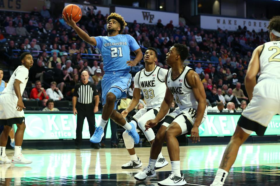 Columbia guard Mike Smith goes up for a shot against Wake Forest guard Jahcobi Neath (4) during the second half at Lawrence Joel Veterans Memorial Coliseum on Nov. 10, 2019.