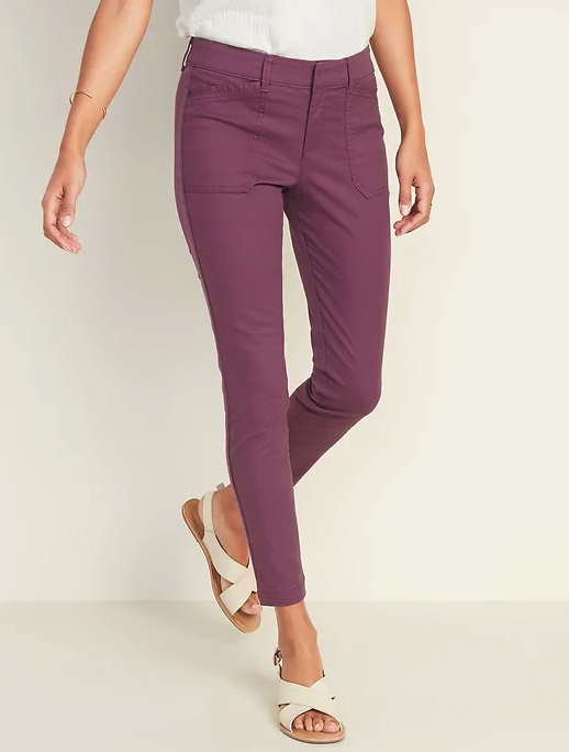 Mid-Rise Pixie Chino Side-Stripe Utility Ankle Pants for Women