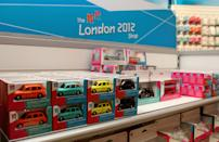 A general view of merchandise during the opening of the London 2012 shop in Paddington Station on November 1, 2010 in London, England. (Photo by Scott Heavey/Getty Images for LOCOG)