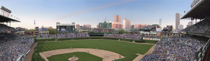 FILE -This file photo shows an artist rendering provided May 1, 2013 by the Chicago Cubs showing planned renovations at Wrigley Field. The Cubs said that have reached an agreement with the city that would allow the team to build a Jumbotron in left field at the team's historic ballpark while adding another sign in right field. The agreement over the changes to Wrigley Field must be approved by Chicago's landmarks commission, which is meeting Thursday, July 11, 2013. A team spokesman said the Jumbotron is slightly smaller than what the Cubs initially wanted and the right field sign is significantly smaller. (AP Photo/Courtesy the Chicago Cubs, File)
