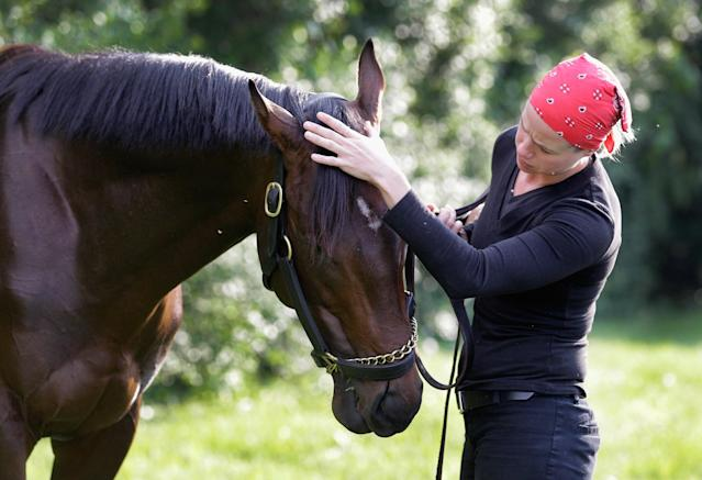 BALTIMORE, MD - MAY 15: Exercise rider Jennifer Patterson pets Kentucky Derby winner Orb following a morning workout in preparation for the 138th Preakness Stakes at Pimlico Race Course on May 15, 2013 in Baltimore, Maryland. (Photo by Rob Carr/Getty Images)