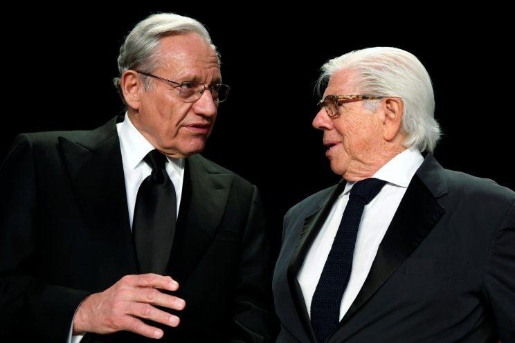 Woodward and Bernstein speak at the White House Correspondents' Association dinner in Washington, D.C., last month. (Jonathan Ernst/Reuters)