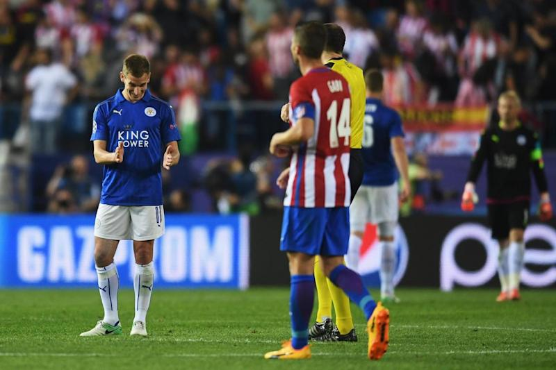 Dubious | Marc Albrighton tells the referee his challenge on Antoine Griezmann was outside the box (Getty Images)