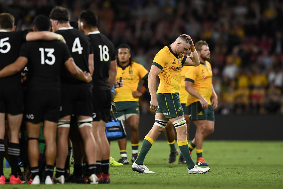 Lachie Swinton walks off the field after being sent off during the 2020 Tri-Nations match between the Australian Wallabies and the New Zealand All Blacks at Suncorp Stadium.