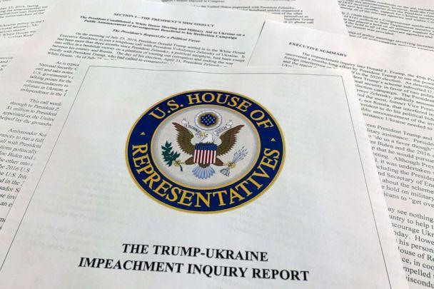 PHOTO: The report from Democrats on the House Intelligence Committee on the impeachment inquiry into President Donald Trump is photographed in Washington, Dec. 3, 2019. (Jon Elswick/AP)
