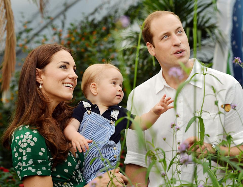 A photograph taken in London on Wednesday July 2, 2014, to mark Britain's Prince George's first birthday, shows Prince William (R) and Catherine, Duchess of Cambridge (L) with Prince George during a visit to the Sensational Butterflies exhibition at the Natural History Museum in London. Britain's Prince William and his wife Catherine on Monday thanked well-wishers around the world as they prepared to celebrate their son Prince George's first birthday. AFP PHOTO/John Stillwell/POOL EDITORIAL USE ONLY        (Photo credit should read JOHN STILLWELL/AFP via Getty Images)