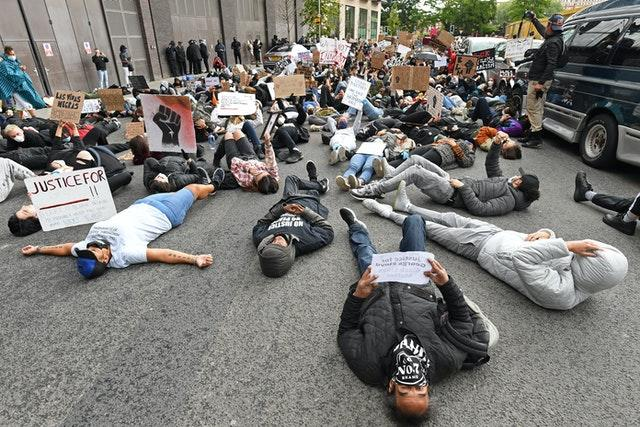 People take part in the protest rally at the US Embassy (Stefan Rousseau/PA Wire)