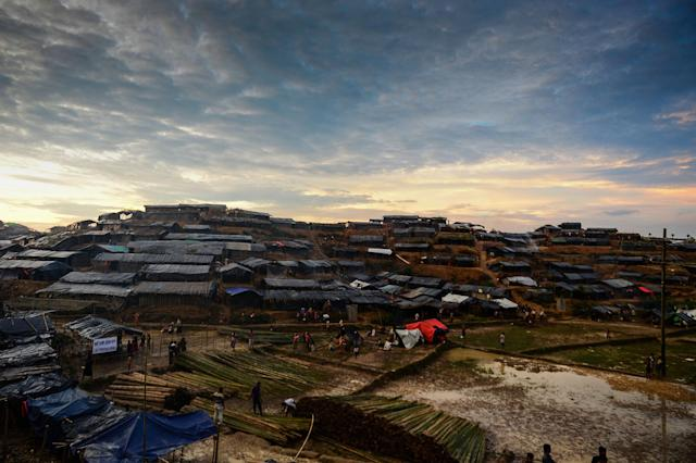 <p>View of newly built makeshift shelters at the Kutupalong Rohingya refugee camp in the Bangladeshi district of Ukhia on September 8, 2017. (Photo: Munir Uz Zaman/AFP/Getty Images) </p>