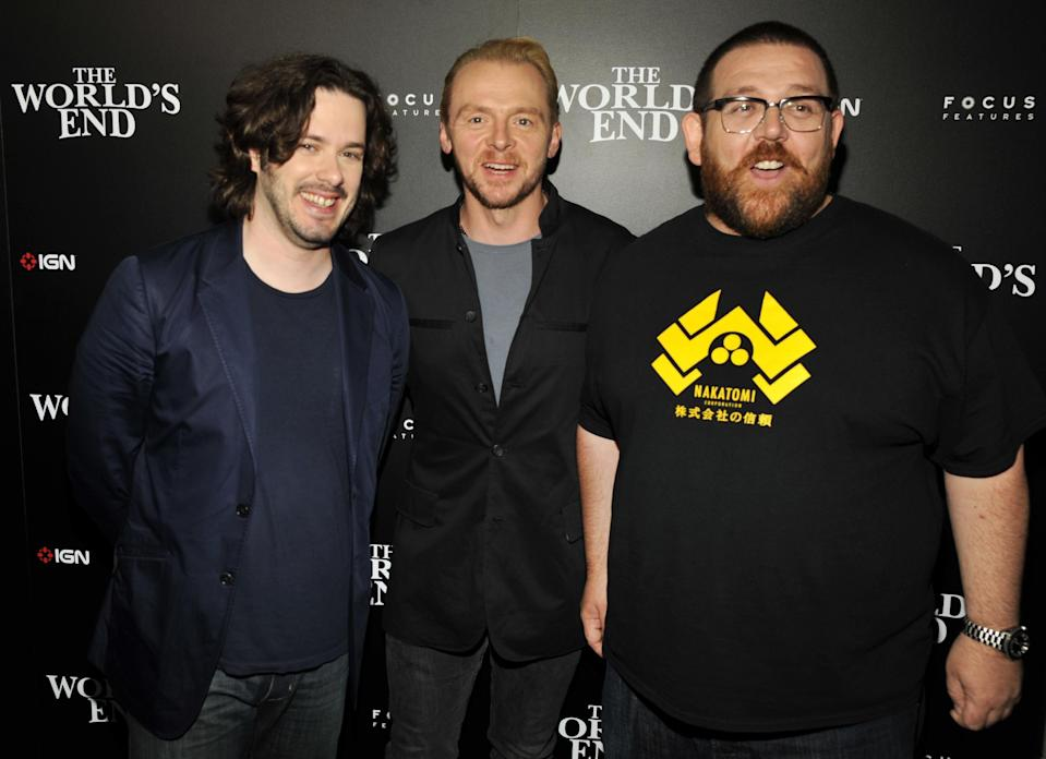 """FILE - In this July 18, 2013 file photo, from left, director, Edgar Wright, actors, Simon Pegg, and Nick Frost attend the """"The World's End"""" party on Day 2 of Comic-Con International in San Diego, Calif. It's not the end of the world, but """"The World's End"""" marks a creative conclusion for Pegg, Frost and Wright. The threesome behind """"Shaun of the Dead"""" and """"Hot Fuzz"""" say """"The World's End,"""" in theaters Friday, Aug. 23, 2013, completes a trilogy. (Photo by Chris Pizzello/Invision/AP, file)"""