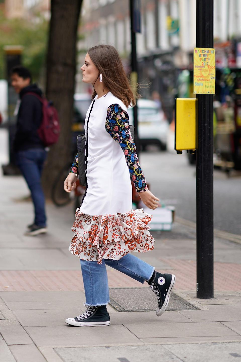 <p>Petite girls can get in on the action, too! A straight-leg jean cropped high enough will reveal classic high-tops without making you look shorter.</p>