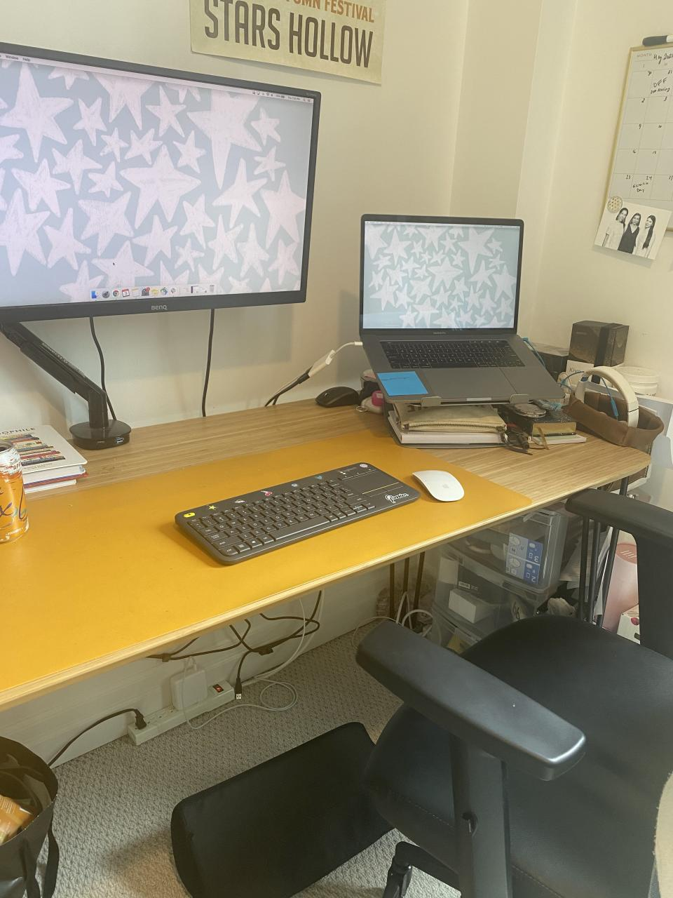 My home office setup includes ergonomic updates like an elevated monitor and foam footrest.