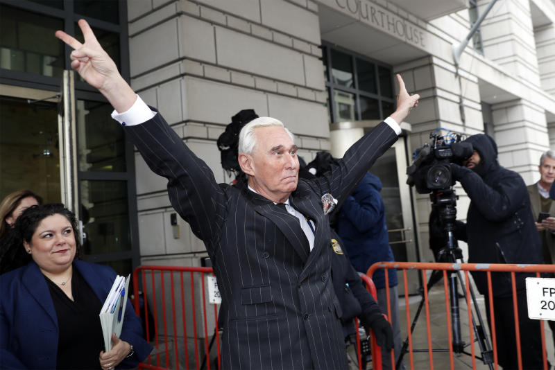 "Former campaign adviser for President Donald Trump, Roger Stone, leaves federal court in Washington, Friday, Feb. 1, 2019. Stone was back in court in the special counsel's Russia investigation as prosecutors say they have recovered ""voluminous and complex"" potential evidence in the case, including financial records, emails and computer hard drives. (AP Photo/Pablo Martinez Monsivais)"