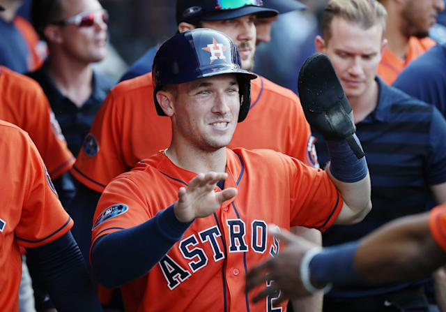 Alex Bregman and his friends went to a bar and tipped a waitress $500 after ordering a single iced tea. (Photo by Gregory Shamus/Getty Images)