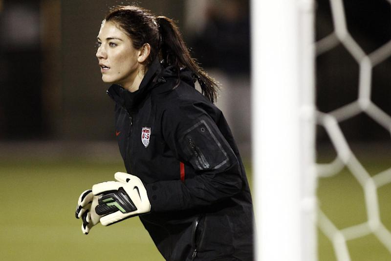 United States goalkeeper Hope Solo waits for the ball during national team soccer practice, Tuesday, Nov. 27, 2012, in Portland, Ore. The United States is scheduled to play Ireland Wednesday in an exhibition match. (AP Photo/Don Ryan)