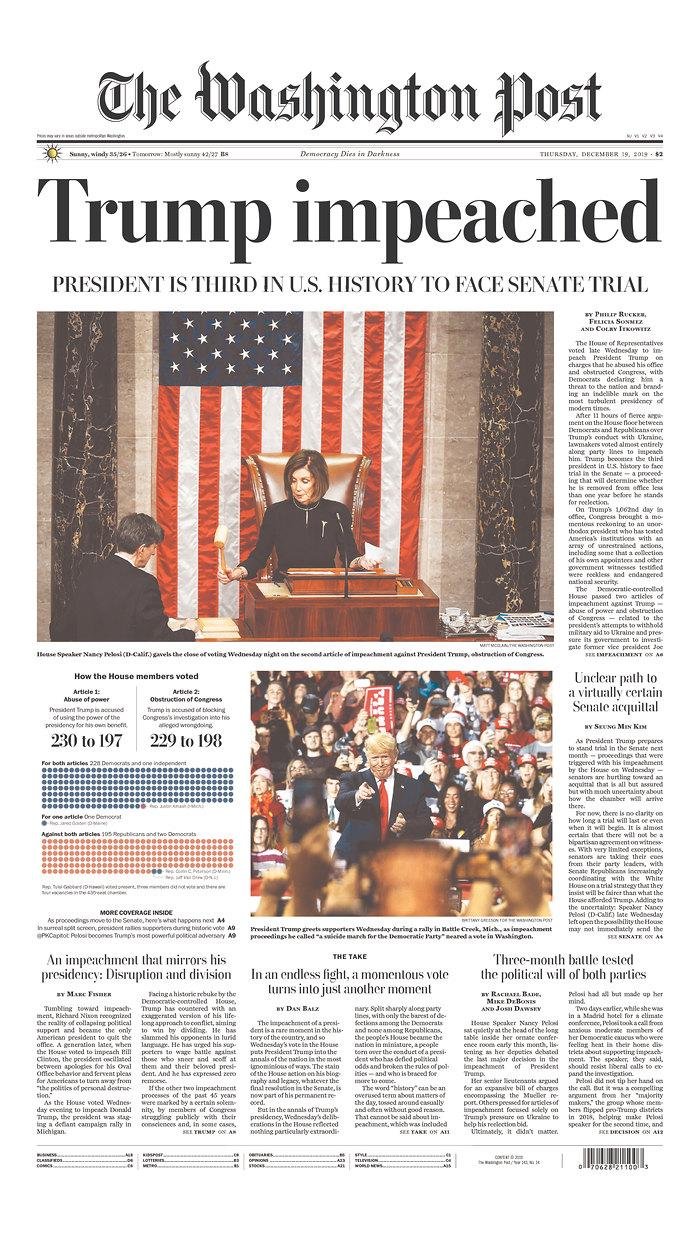 The front page of Thursday's Washington Post. (Newseum.org)