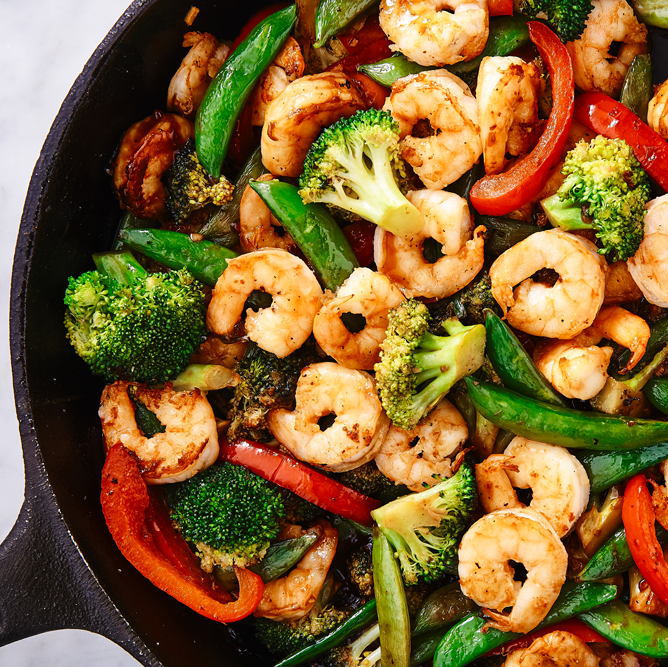 """<p>So simple to throw together, and filled with so much flavour.</p><p>Get the <a href=""""http://www.delish.com/uk/cooking/recipes/a28757385/shrimp-stir-fry-recipe/"""" rel=""""nofollow noopener"""" target=""""_blank"""" data-ylk=""""slk:Prawn Stir Fry"""" class=""""link rapid-noclick-resp"""">Prawn Stir Fry</a> recipe.</p>"""