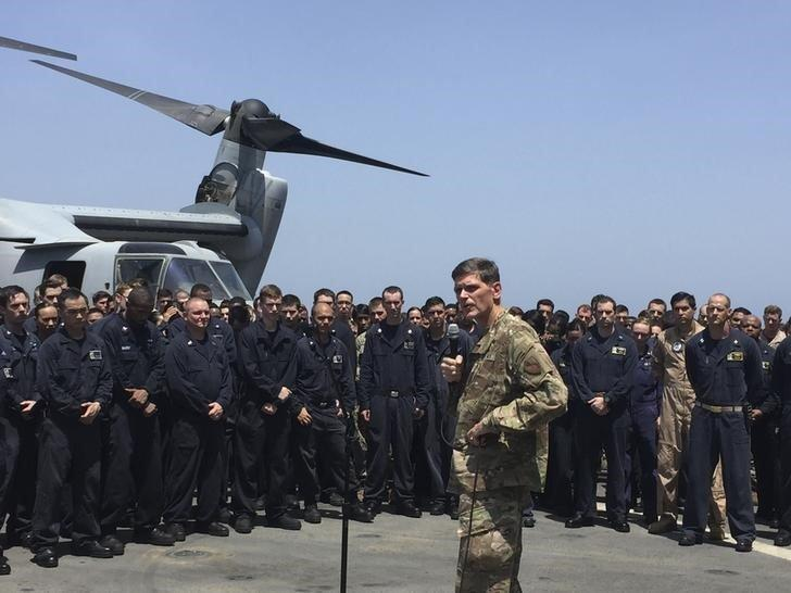 General Joseph Votel, the head of the U.S. military?s Central Command, speaks aboard the USS New Orleans, an amphibious dock ship, as it travels through the Strait of Hormuz July 11, 2016. REUTERS/Phil Stewart