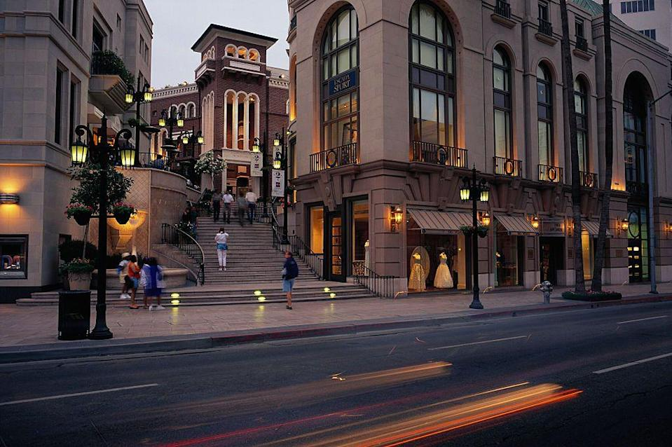<p>The outdoor shopping center at the trendy Rodeo Drive shopping center in Beverly Hills celebrated its first full year of operations in 1991.</p>