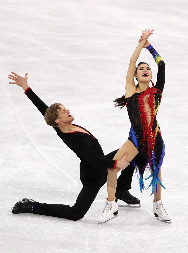From left: ice dancers Evans Bates and Madison Chock competing in the short dance portion of their event at the 2018 Winter Olympics