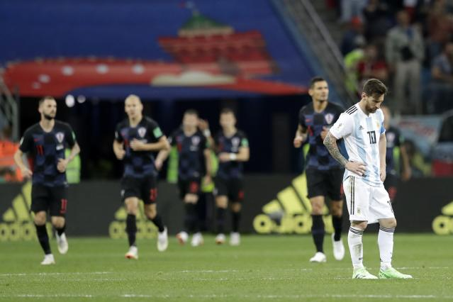 Argentina's Lionel Messi reacts after the opening goal of Croatia during the group D match between Argentina and Croatia at the 2018 soccer World Cup in Nizhny Novgorod Stadium in Nizhny Novgorod, Russia, Thursday, June 21, 2018. (AP Photo/Petr David Josek)