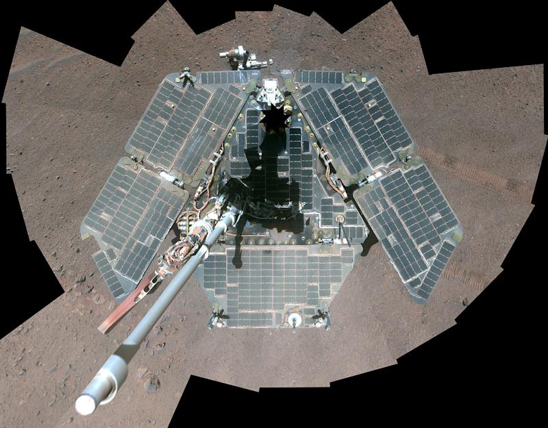 A self-portrait of NASA's Mars Exploration Rover Opportunity, using a combination of multiple frames taken by Opportunity's panoramic camera (Pancam) is seen on Mars in 2014. (NASA NASA / Reuters)
