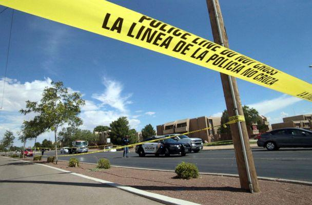 PHOTO: Police tape strung across an intersection behind the scene of a shooting at a shopping mall in El Paso, Texas, Aug. 3, 2019. (Rudy Gutierrez/AP)